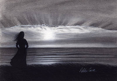Beach Sunset Drawing - Spectacular Moment by Debbie Smith