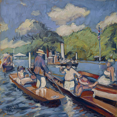 Boat Painting - Spectators On The Thames In Henley by Nop Briex