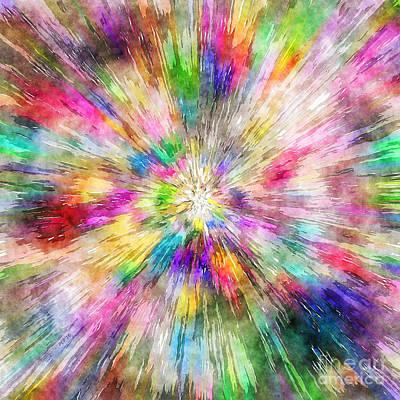 Spectral Tie Dye Starburst Art Print by Phil Perkins
