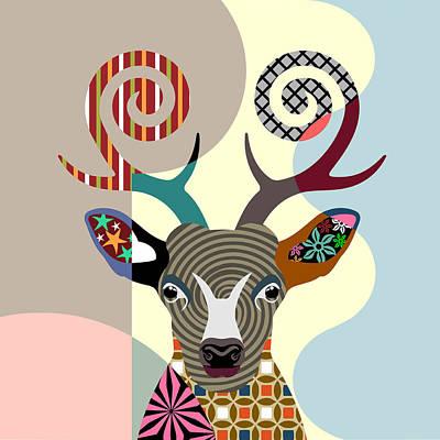 Purebred Digital Art - Spectrum Deer by Lanre Studio