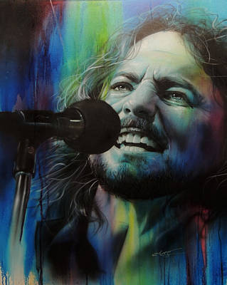 Pearl Jam Painting - Eddie Vedder - ' Spectrum Of Vedder ' by Christian Chapman Art