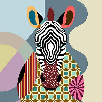 Purebred Digital Art - Spectrum Zebra by Lanre Studio