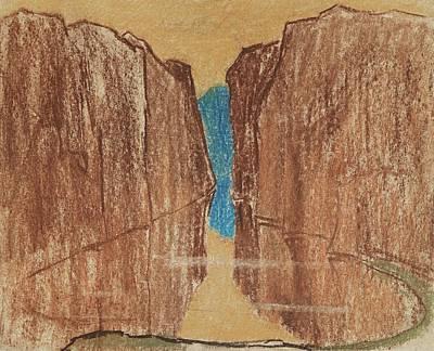 Specular Reservoir Between The Two Desert Cliffs Art Print by Carl Fredrik