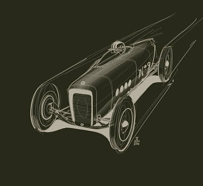 Old Car Drawing - Speed by Jeremy Lacy