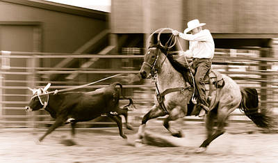 Team Roping Photograph - Speed by Scott Sawyer