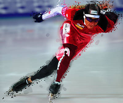 Skating Painting - Speed Skater In Red by Elaine Plesser