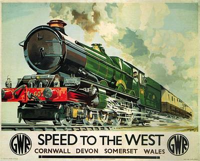 Royalty-Free and Rights-Managed Images - Speed to the West - Great Western Railway - Locomotive - Retro travel Poster - Vintage Poster by Studio Grafiikka