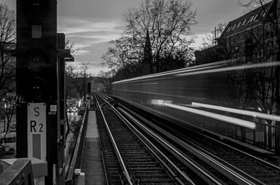 Wall Art - Photograph - Speeding Train Bw by Adrian O Brien