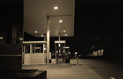 Photograph - Speedway Gas At Night, Paramus, Nj, Sepia 2017 by Frank Romeo