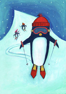 Goggles Painting - Speedy Skiing Penguin by Kristy Lankford