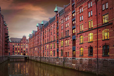 Gothic Bridge Photograph - Speicherstadt Hamburg Germany  by Carol Japp