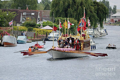 Photograph - Spelthorne River Day With Queens Rowbarge Gloriana by Julia Gavin