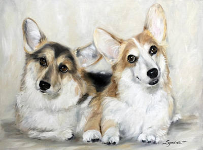 Pembroke Welsh Corgi Painting - Spencer And Angus by Mary Sparrow