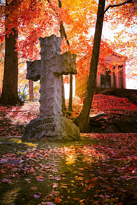 Photograph - Spencer Blaine Cross - Cemetery Art by Colleen Kammerer
