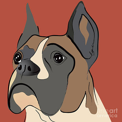 Spencer Boxer Dog Portrait Art Print