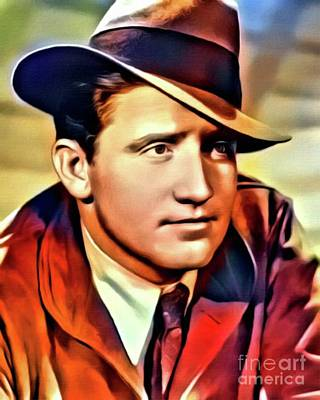 Spencer Tracy, Vintage Actor, Digital Art By Mb Art Print by Mary Bassett