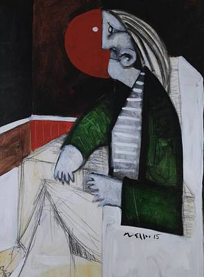 Outsider Art Mixed Media - Speramus Man In Green Jacket Thinking About Himself  by Mark M  Mellon