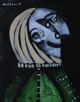Painting - Speramus Man In Green Shirt Thinking About Time  by Mark M  Mellon