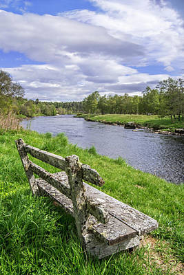 Photograph - Spey River And Old Bench by Arterra Picture Library