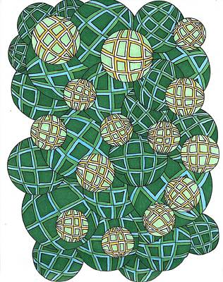 Drawing - Spheres Cluster Green by Roberta Dunn
