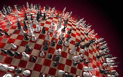 Spherical Chess Board World Art Print by Jovemini ART