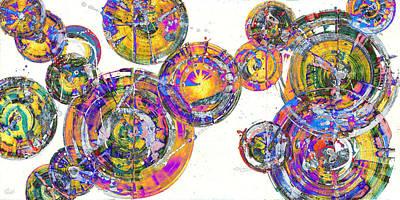 Painting - Spherical Joy Series 116.051911panel123.invfadediff by Kris Haas