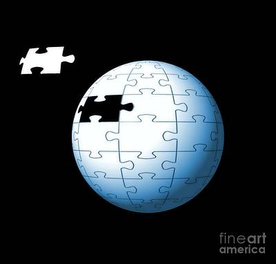Photograph - Spherical Puzzle With Missing Piece by Yali Shi