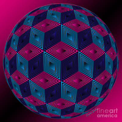 Spherized Pink Purple Blue And Black Hexa Art Print