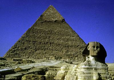 Photograph - Sphinx And Pyramid by Gary Wonning