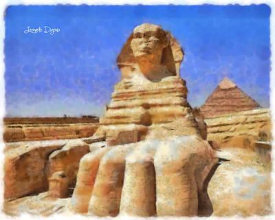 Pharaoh Painting - Sphinx  - Free Style -  - Da by Leonardo Digenio
