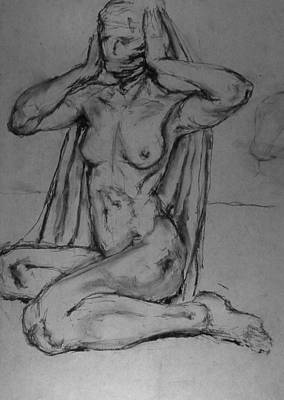 Male Nude Drawing Drawing - Sphinx I by Chris  Riley