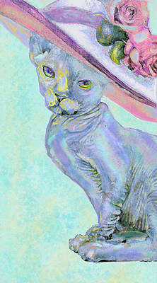 Sphinx In Pink Hat Art Print by Jane Schnetlage