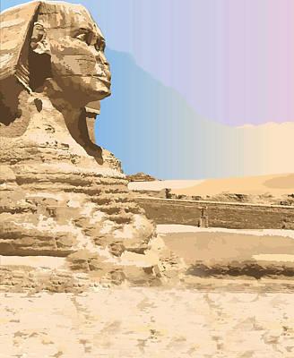 Digital Art - Sphinx Pyramid, Egypt by Inge Lewis