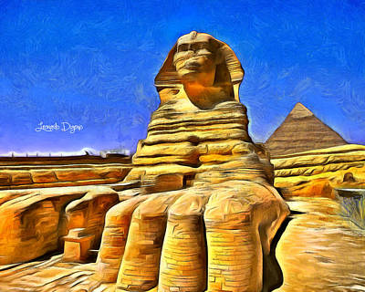 Lion Digital Art - Sphinx  - Van Gogh Style -  - Da by Leonardo Digenio