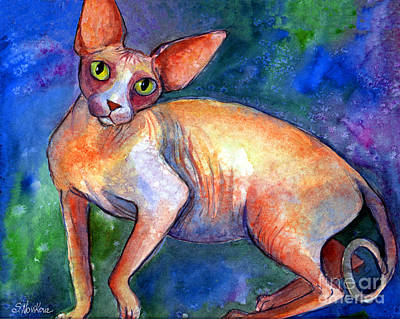 Watercolor Pet Portraits Painting - Sphynx Cat 4 Painting by Svetlana Novikova