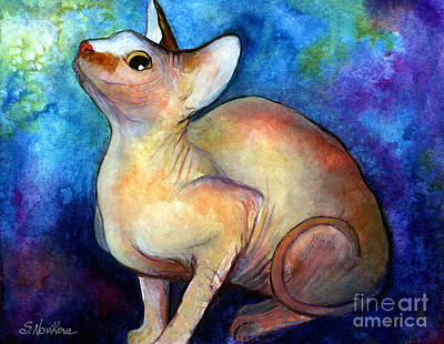 Watercolor Pet Portraits Wall Art - Painting - Sphynx Cat 5 Painting by Svetlana Novikova