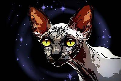 Sphinx Mixed Media - Sphynx Cat by Alexey Bazhan