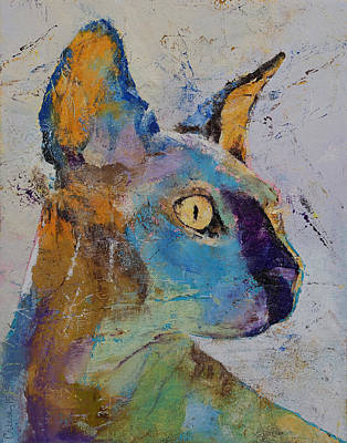 Collectible Art Painting - Sphynx Cat by Michael Creese