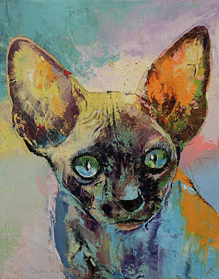 Sphynx Cat Painting - Sphynx Cat Portrait by Michael Creese