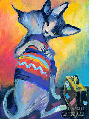 Sphynx Cat Painting - Sphynx Cats Friends by Svetlana Novikova