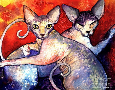 Sphynx Cats Sphinx Family Painting  Art Print by Svetlana Novikova