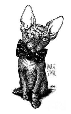 Drawing - Sphynx Drawing by Akiko
