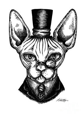 Drawing - Sphynx Gentleman by Akiko Okabe