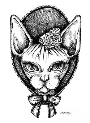 Drawing - Sphynx Lady by Akiko Okabe