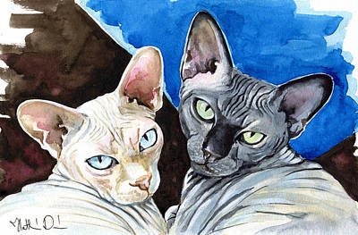 Painting - Sphynx Love - Cat Painting by Dora Hathazi Mendes