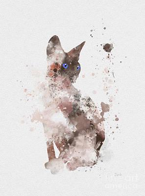 Feline Mixed Media - Sphynx by Rebecca Jenkins