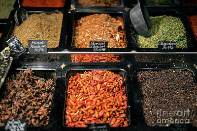 Garden Fruits - Spice And Herb Stall At La Boqueria Market Barcelona Spain by JM Travel Photography