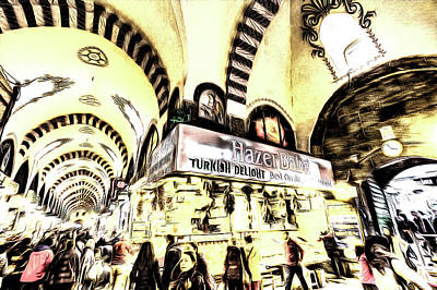 Mixed Media - Spice Bazaar Istanbul Art by David Pyatt