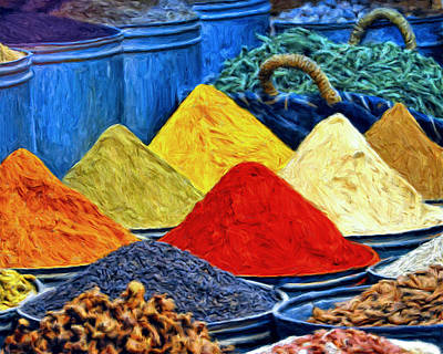 Spice Market In Casablanca Art Print by Dominic Piperata