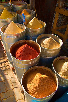 Spices In Marrakesh Morroco Art Print by David Smith